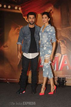 Ranbir Kapoor and Deepika Padukone promoting Bollywood Couples, Indian Bollywood, Bollywood Stars, Bollywood Celebrities, Bollywood Fashion, Hindi Actress, Bollywood Actress, Western Outfits, Western Wear