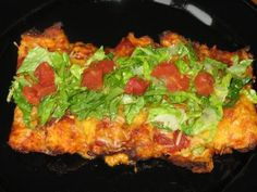Cheese Enchiladas made with chopped cauliflower shells!