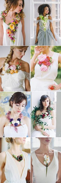 """Most brides and bridesmaids carry flowers, and we love the endless possibilities of creativity that are out there to florists. The new trend for wedding flowers is to """"wear"""" them! There are many unique ways to create wearable flower. Other than floral headpieces we are all familiar of, but also as jewelry, accessories, and even your wedding dress. Get ready to fall in love with these lovely flower adornments below!"""