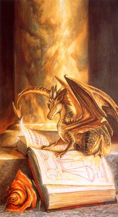 Book Dragon; like a book cat only better. Bob Eggleton | Fantasy art -- Sometimes I really wish miniature dragons existed.