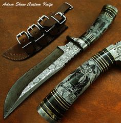 """Adam Shaw's 1-OF-A-KIND RARE CUSTOM DAMASCUS KNIFE.  Bull Horn Handle.  Hand Forged Damascus Guard & But Cap.   12.20"""" Long 
