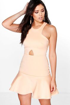 boohoo Jenna Cut Out Waist Peplum Hem Skater Dress Bodycon Cocktail Dress, Black Bodycon Dress, Skater Dress, Peplum Dress, Lace Dress, White Halter Dress, Deep V Neck Dress, Bodycon Fashion, Women's Fashion