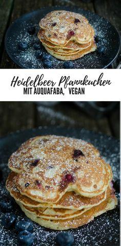 Heidelbeer Pfannkuchen / Pancakes) mit Aquafaba (Kichererbsenwasser); Veganes Rezept Frühstück deutsch, vegan backen