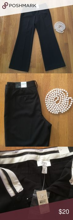 NWT Loft Black Trousers in Julie Fit size 6P NWT Loft Black Trousers Size 6P. Julie Fit. Contoured through hip and thigh. Flare leg/Stretch LOFT Pants Trousers