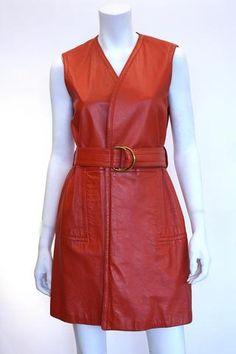 1970s BONNIE CASHIN Orange Leather Wrap Dress