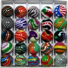 A collection of glass marbles....