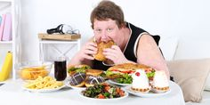 Fat man eating a lot of unhealthy food - Stock Photo , Sleepy After Lunch, Kinds Of Diseases, Fat Man, Stop Eating, Eating Habits, Weight Gain, New Recipes, Health And Wellness, Nutrition