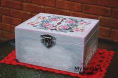 Hand made, decoupaged,personalised box  29cm X 26cm X 15cm