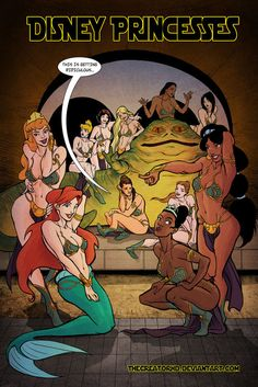 Disney Princess #StarWars #Disney      Disney Princesses in Jabba's Palace by Phillip Sevy