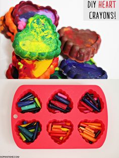 DIY Recycled Heart Crayons via @sheenatatum