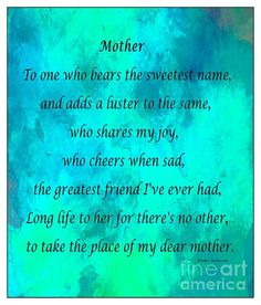 Mother - Blue Green Watercolor by Barbara Griffin. A poem for mother.