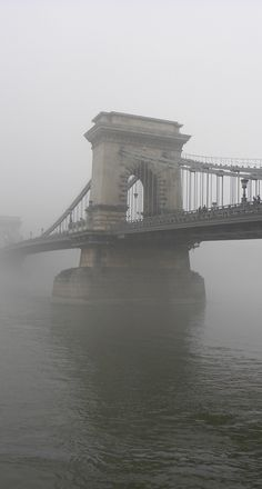 Chain Bridge on a foggy day. More on Budapest in this post: http://bbqboy.net/favorite-photos-2-months-budapest-see-skip/