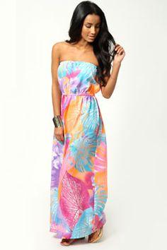 Heidi Neon Floral Elastic Waist Maxi Dress