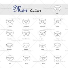 17 Types of shirt collars. Include 4 hole button.