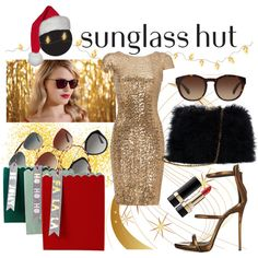 Celebrate in Every Shade with Sunglass Hut: Contest Entry- Sunshine in a gift bag by kc-spangler on Polyvore featuring Badgley Mischka, Giuseppe Zanotti, Dolce&Gabbana, Meri Meri, Prada and Ray-Ban