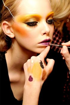colorful makeup, yellows, gold, makeup artist colourful eyes