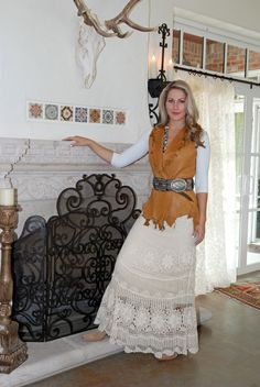 Pat Dahnke Leather Vest and Crochet Skirt | Available at Rawhide Ranch Co.
