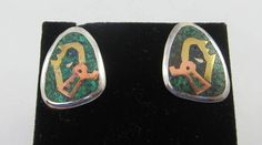 Mexican Turquoise Mosaic and Sterling Silver Alpaca Brass Copper Screw Back Earrings by Framarines on Etsy