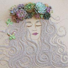 Daqui Dali» Arquivo do Blog » Flores, folhas e galhos secos formam lindos rostos femininos em arte feita para retornar à natureza