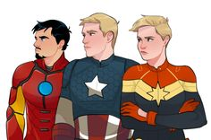 """Check out the amazing """"judging you"""" faces of Tony Stark, Steve Rogers and Carol Danvers. Squad."""
