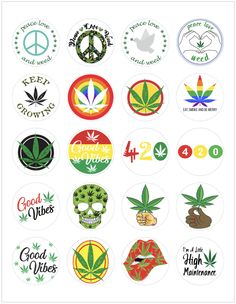 Printable Sticker Paper, Vinyl Sticker Sheets, Marijuana Plants, Weed Stickers, Puff And Pass, Business Stickers, Planner Book, Stickers, Stencils
