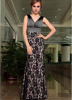 In Stock Gorgeous Stretch Satin V-neck Floor-length Sheath Evening Dress