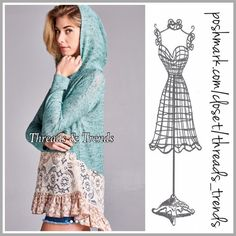 Minty Lace Oversized Slouchy Hoodie Sweater All the trendy components are adorable in this minty lace floral print ruffle hem hoodie sweater. Made of a cotton/knit blend and lace. Size S, M, L. The perfect transition piece from winter to spring. Great find under $50 Threads & Trends Sweaters