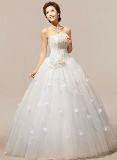 Sweet Appliques Strapless Off The Shoulder Sleeveless White Organza Ball Gown Floor Length Wedding Dress
