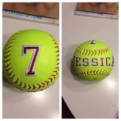 Personalized Monogrammed Softball by on Etsy Senior Softball, Girls Softball, Fastpitch Softball, Softball Things, Softball Stuff, Volleyball, Senior Night Gifts, Softball Crafts, Sport Craft