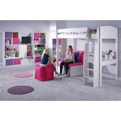 BuyStompa Uno S Plus High-Sleeper Bed with Corner Desk and Chair Bed, White/Pink Online at johnlewis.com
