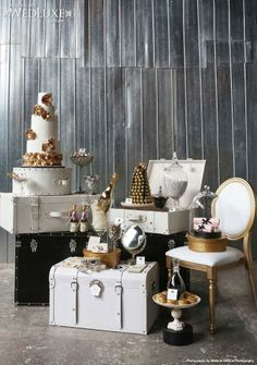 Vintage travel and Chanel inspired. WedLuxe.