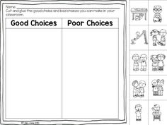 Good and Poor choices cut and paste- back to school rules and procedures
