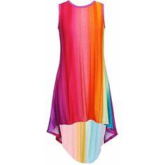 Stella Industries Pink Rainbow Miami Dress (120 RON) ❤ liked on Polyvore featuring dresses, rainbow, red dress, pink dress, pink day dress, pink red dress and rainbow dresses