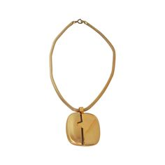 1970s Lanvin gold modernist pendant necklace | From a unique collection of vintage drop necklaces at http://www.1stdibs.com/jewelry/necklaces/drop-necklaces/