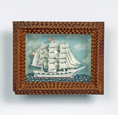 Tramp Art Sailboat Diorama