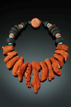 Necklace | Chris Carlson. 'Big Red'.  Coral, lava, turquoise.