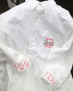Bride, Bridesmaid, Maid of Honor Monogrammed Oversize Button Down Spa Shirt Cover Up on Etsy, $35.00