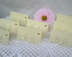 Doily Lace Place Cards, Tented Wedding Table Name Cards Handmade, Dainty, Feminine, Shabby Chic, 50 Piece Set