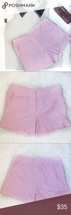 Britt Ryan Seersucker Pink and White Shorts Sz 2 Preowned Britt Ryan Shorts Color: pink and white Vertical striped  2 side front pockets Great to dress up or down 2 hook / zipper closure Gently used condition with no stains or holes Size: 2  Please see pictures for fabric content and approximately measurements while flat, unstretched. Feel free to make an offer or bundle & save! Britt Ryan Shorts