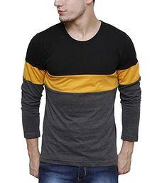 15dfdd11a Urbano Fashion Men's Striped Slim Fit T-Shirt (cns-rnd-blayel-s). TrendBux  India