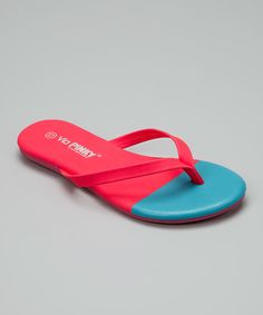 Coral & Blue Color Block Flip-Flop by PINKY FOOTWEAR #zulily #zulilyfinds