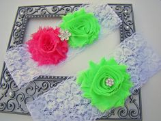 Shabby Chiffon Bright Hot Pink Lime Green by BellaDivaCouture, $21.00