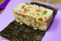molded spam fried rice on nori