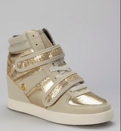 c7353c9d14f Loving this Sand & Gold Kitty Hi-Top Wedge Sneaker - Women baby phat