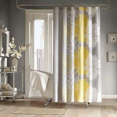 Blue Yellow Vertical Curved Stripes Polyester White Shower Curtain Water Proof 78 Inches Wide By 70 Long Generic Amazon Dp B