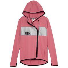 High/Low Hoodie ($60) ❤ liked on Polyvore featuring tops, hoodies, red zipper hoodie, asymmetrical zip hoodie, pink hoodies, pink zip hoodie and zipper hoodies