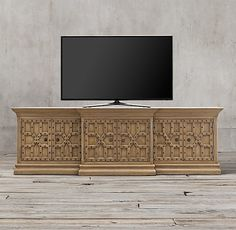 """17th-century Castelló Media Console design from Spain's Andalusia region, Moorish inspiration. solid walnut with a gently aged patina, each piece is accented with hand-hammered wrought iron studs for textural contrast. 74""""W x 24""""D x 32""""H 101½""""W x 24""""D x 32""""H"""