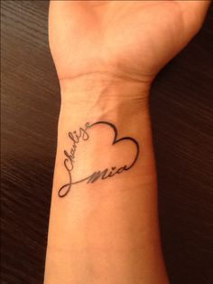 Infinity Heart with my two daughters names...