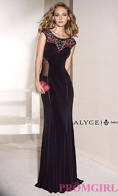 Floor Length Jersey Alyce Gown with Cap Sleeves at PromGirl.com