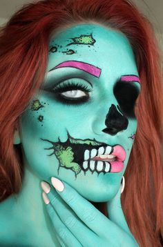 Vancouver, Canada makeup artist Samantha Ravndahl of Batalash Beauty has turned herself into a mesmerizing Pop Art Zombie.